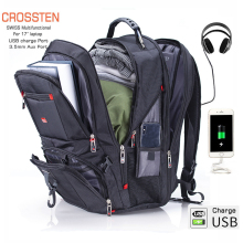 Crossten 17.3″ Laptop Backpack Waterproof USB Charge Port Swiss Multifunctional Rucksacks Schoolbag Mochila Hiking Travel bag