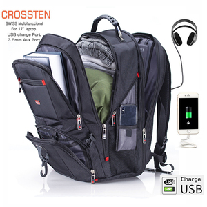 "Crossten 17.3"" Laptop Backpack Waterproof USB Charge Port Swiss Multifunctional Rucksacks Schoolbag Mochila Hiking Travel bag(China)"