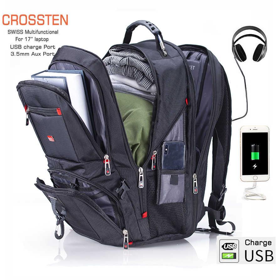 """Crossten 17.3 """"Zaino Del Computer Portatile Impermeabile Porta USB di Ricarica Svizzero Multifunzionale Zaini Zainetto Mochila Trekking borsa Da Viaggio"""
