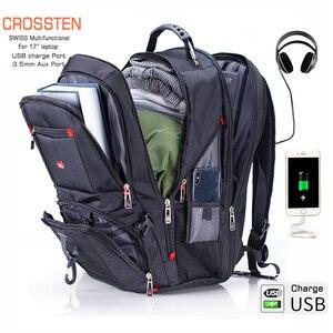 "Image 1 - Crossten 17"" Laptop Backpack Waterproof USB Charge Port Swiss style Multifunctional Rucksack Schoolbag Mochila Hiking Travel bag"