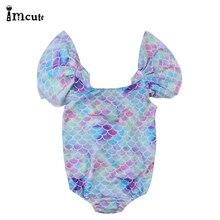 Brand Children Clothing Girls Swimming Mermaid Bikinis 1PC Sets 6M-4T Years Kids Babys Purple Fish Scales Swimsuit