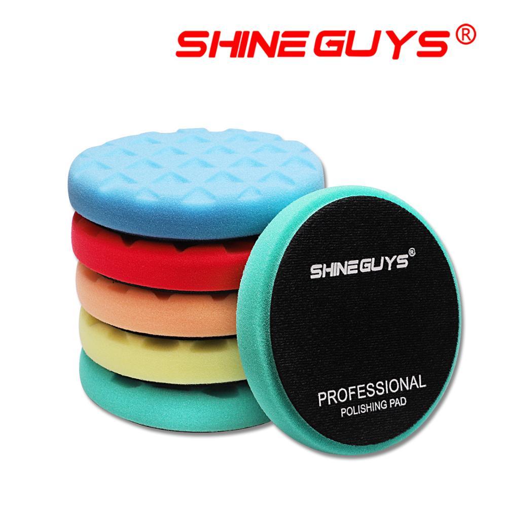 """Shine guys 5.5 Polegada (135mm) almofadas de polimento de corte leve/médio/pesado para 5 """"(125mm) ro/da/ga polidor de carro"""
