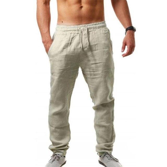 Newly Men Casual Sports Trousers Breathable Cotton Linen Drawstring Straight Leg Pants Beach Pants DOD886 1