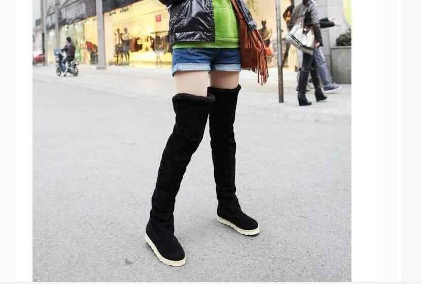 Yeni kış modeller kar botları kadın diz üzerinde ayakkabı kadın tüp uzun çizmeler Feminino Zapatos sıcak kadın çizmeler boyutu