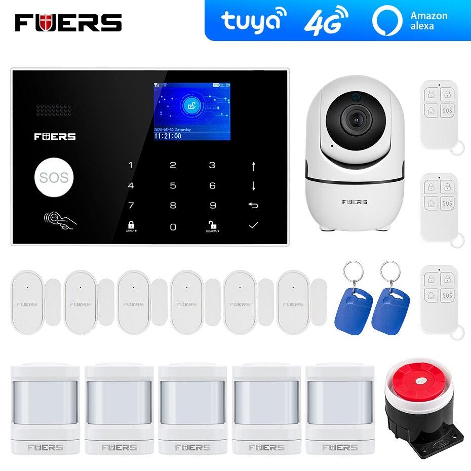 4G Wifi GSM alarm systems security  Tuya Alexa App  Wifi Camera Touch keypad Smart Home Burglar Alarm  System Security Alarm