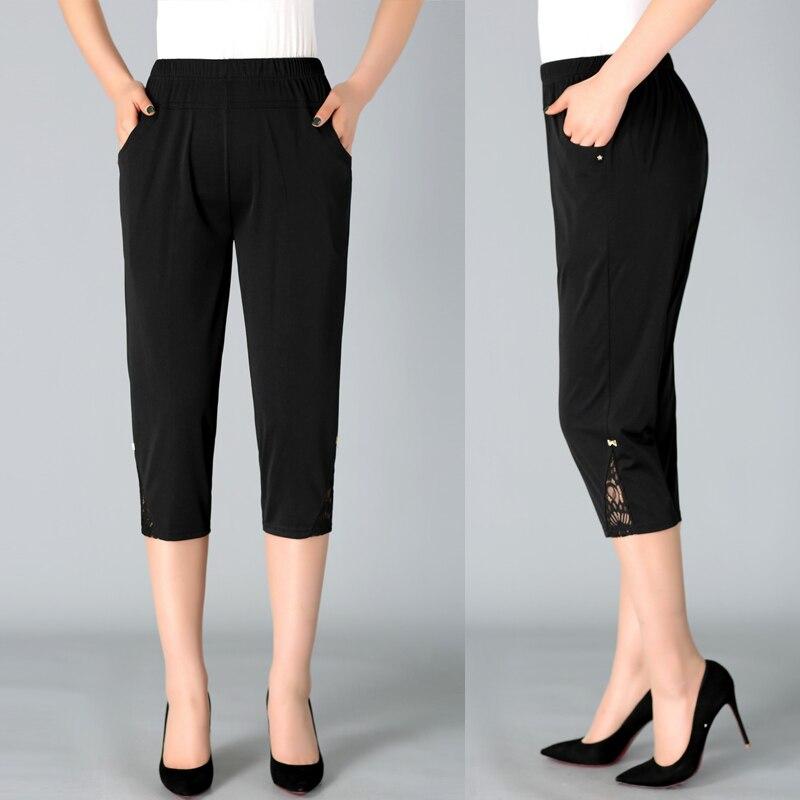 2020 Summer Women's Capris Pants Women Plus Size 4XL Woman Loose Casual Elastic Waist Pencil Calf Length Pant Black White