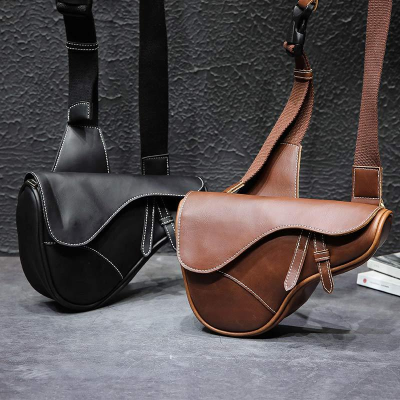 Brand Crazy Horse Leather Men's Sling Chest Pack Crossbody Shoulder Bags Saddle Shape Men Messenger Bag For Cell Phone Wallet