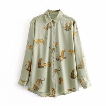 Animal Prints Shirt Women Autumn 2019 New Fashion Long Sleeve Blouse Female Loose Shirts