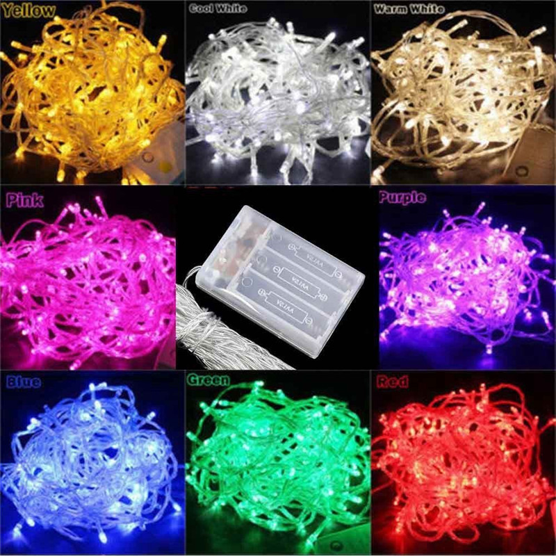 20M 10M 5M 2M LED String Lights 3*AA Battery Operated Waterproof Fairy LED Christmas Lights For Holiday Party Wedding Decoration