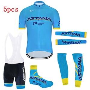 2020 Blue ASTANA Cycling Team Jersey Summer Pro Bicycle Jersey Clothing Men Bib Gel Bike Shorts Set Maillot Sleeves Warmers 5pcs