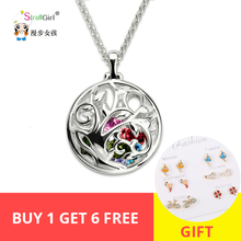 StrollGirl New Arrivals 925 Sterling Silver Round Cage Birthstone Family Tree Necklace Holiday Gift Free Shipping Time discount