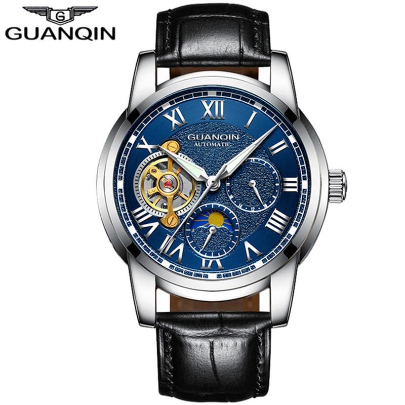 GUANQIN 2019 business Brand Luxury Tourbillon Skeleton Watch Men Full Steel Automatic Mechanical Wristwatch Relogio Masculino A