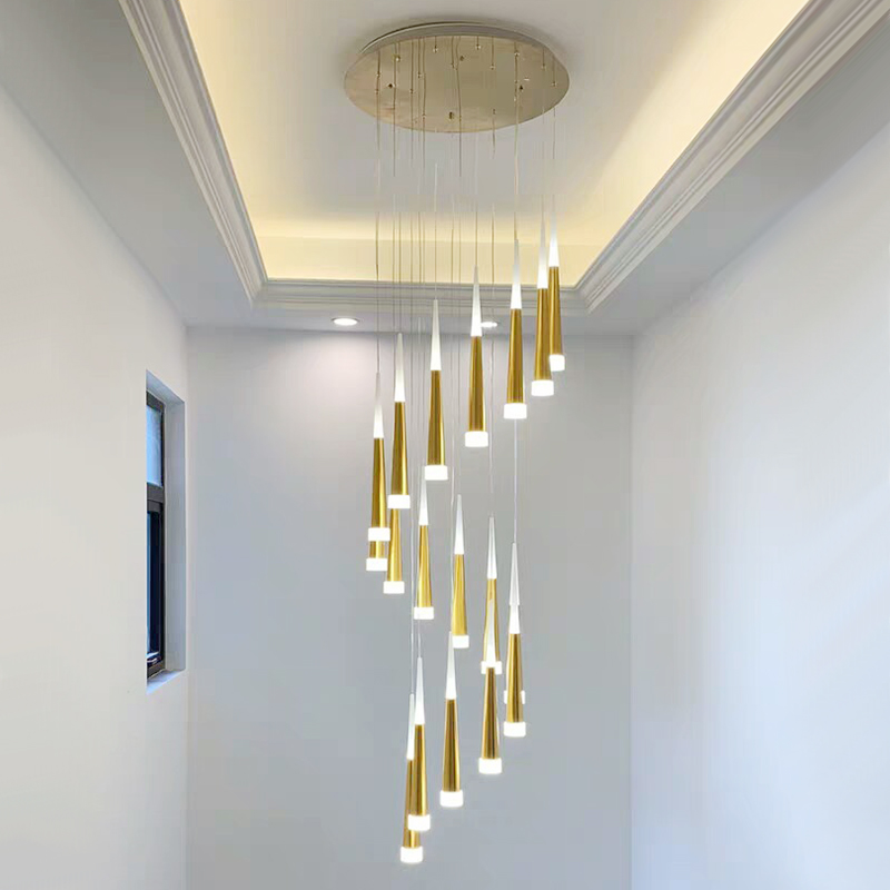 LED Ring Chandelier Lamp Living room Bedroom Kitchen staircase chandelier Lighting Indoor home Decor long stair chandelier