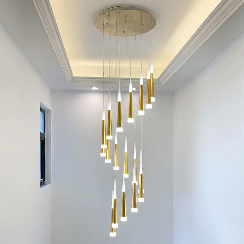 LED Ring Chandelier Lamp Living Room Bedroom Kitchen Staircase Chandelier Lighting Indoor Home Decor Long Stair Chandelier