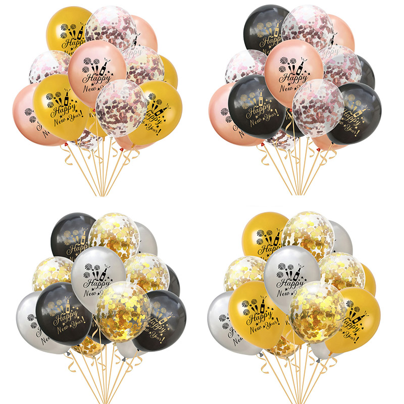 2020 Rose Gold Christmas Decoration Happy New Year Balloons 12inch Inflatable Helium Confetti Latex Balloons Xmas Party Supplies