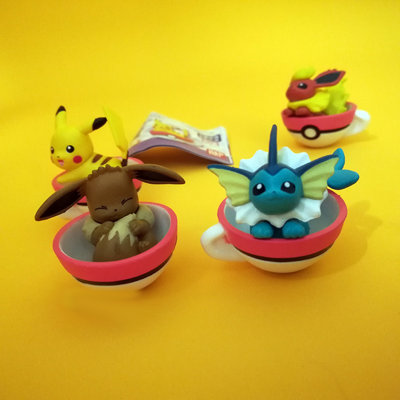 Takara Tomy 5pcs/set Pikachu Eevee Action Figure Pokemon Big Head Doll Sleep Elf Ball Children Toy Gifts image