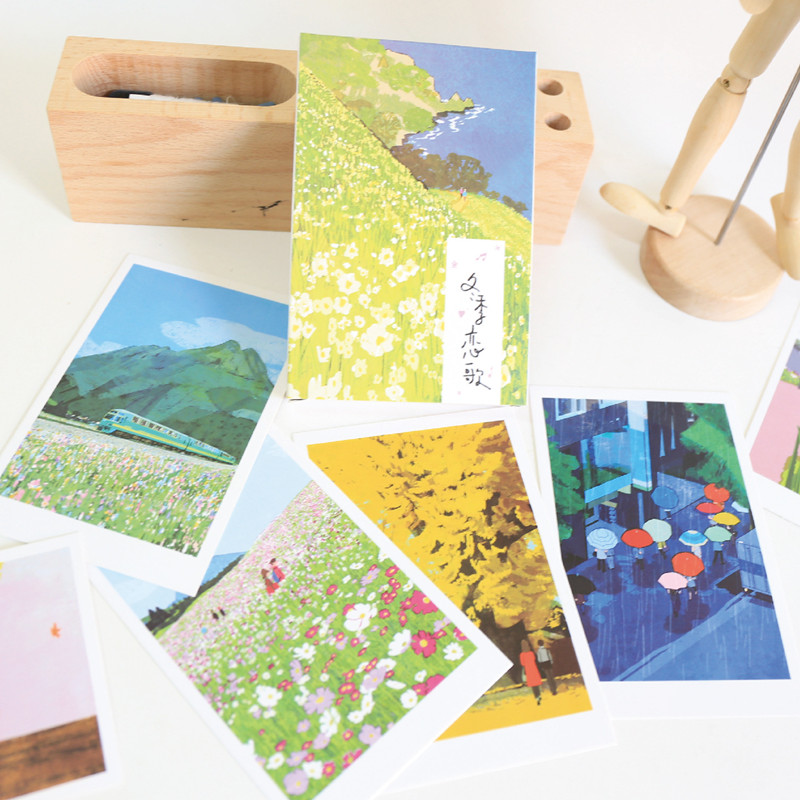30 Sheets/set Beautiful Scenery Paintings Postcard Vintage Postcard Christmas Gift Card Wish Message Cards Letter Card