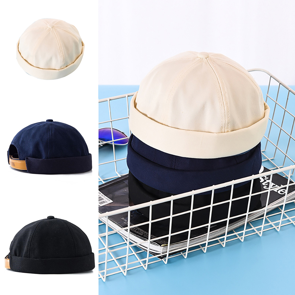 56-58cm Retro Unisex Docker Sailor Biker Cap Men Adjustable Casual Brimless Skull Loop   Beanie   Hat Solid Women Harajuku Winter