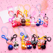 Cartoon Cute Spiderman Small Yellow Duck Keychain Lady Girl Charm Bag Car New Key Ring Mens Christmas Gift Wholesale