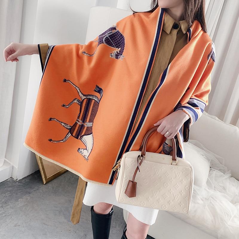 Fashion Winter Scarf Women Cashmere Warm Pashmina Foulard Lady Luxury Horse Scarves Thick Soft Bufanda Shawls Wraps 2020 New