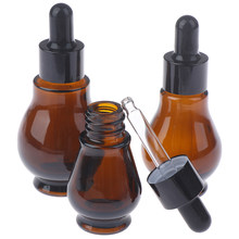1PC 10/20/30/ml Amber Glass Dropper Bottle Essential Oil Perfume Pipette Bottles Refillable Empty Container(China)
