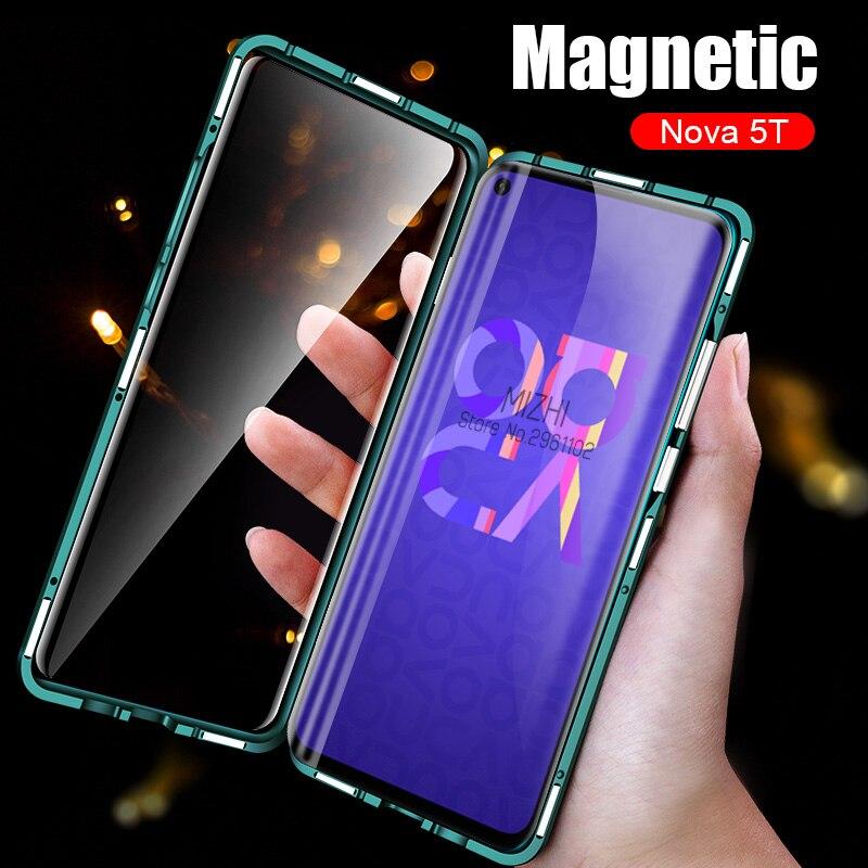 Caso amortecedor para huawei honor nova 5 t caso metal magnético 360 casos de telefone em honra nova5t nova 5 t t5 vidro temperado capa traseira