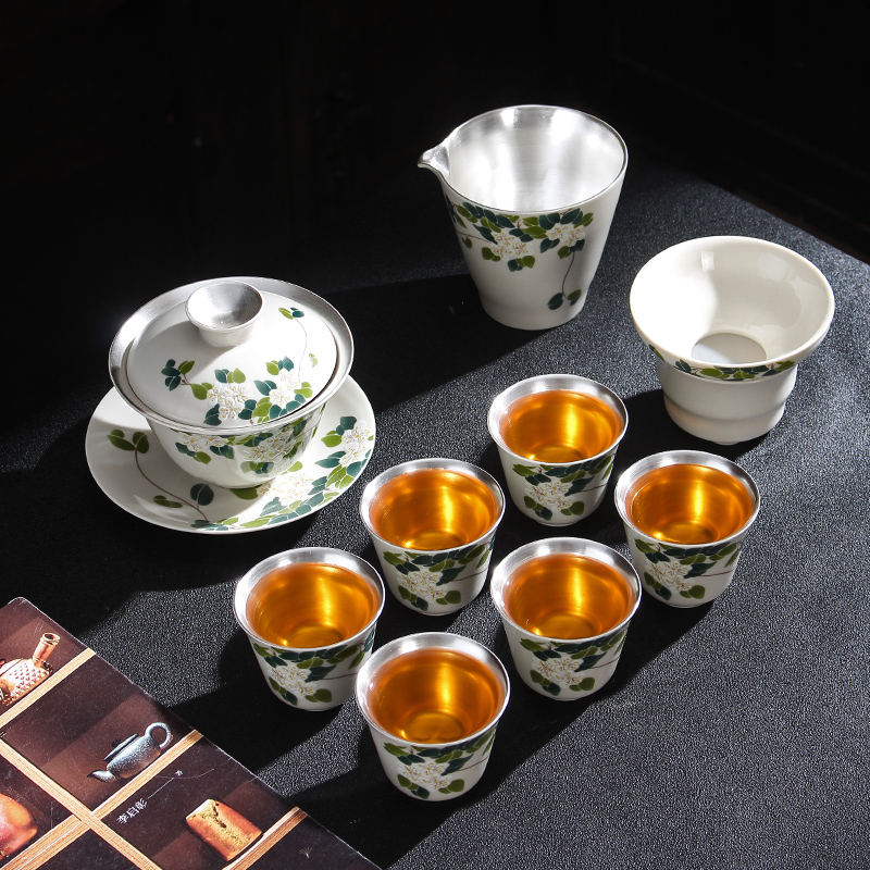 Jingdezhen Porcelain Silver Tea Set Ceramic Kung Fu Tea Cup Set Of Sterling Silver Tea Maker Lid Bowl Office Home Gift Box