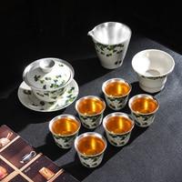 Jingdezhen porselein zilveren thee set keramische kung fu thee cup set van sterling zilveren thee maker deksel kom office home geschenkdoos-in Theesets van Huis & Tuin op