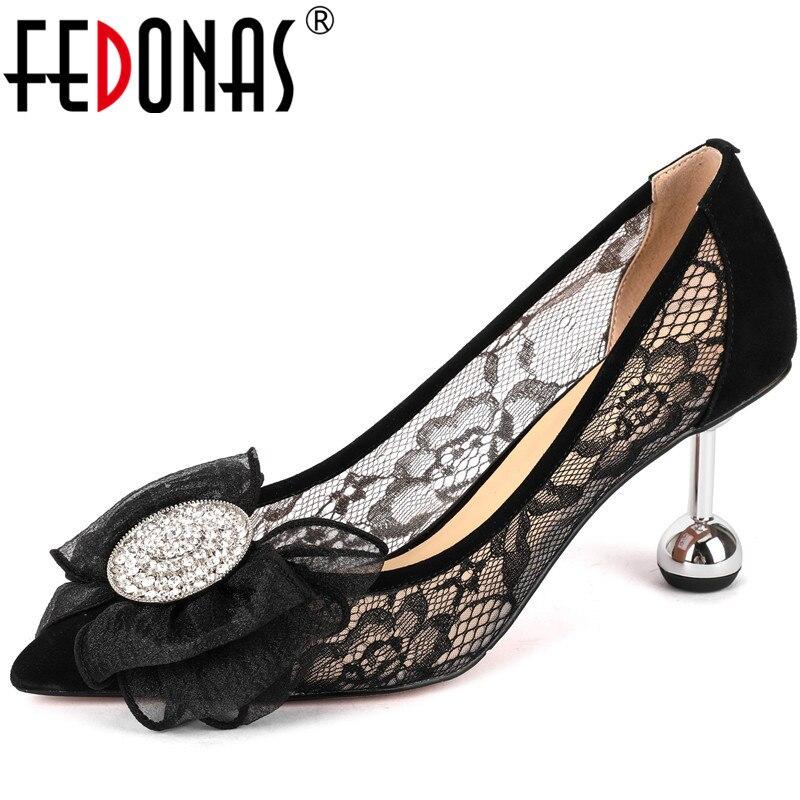 FEDONAS New Fashion Women Strange Heeled Night Club Genuine Leather Butterfly Knot Shoes Rhinestone Point Toe Sexy Shoes Woman