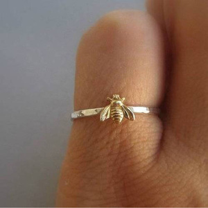 1Pcs Simple Tiny Solid Gold Color Alloy Bee Finger Rings Gold Hammered Band Stacking Rings Wedding Anniversary Jewelry(China)