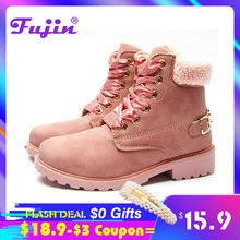 Fujin frauen winter stiefel Plattform Rosa Frauen Stiefel Lace up Casual Stiefeletten Booties Runde Frauen Schuhe winter schnee stiefel knöchel(China)