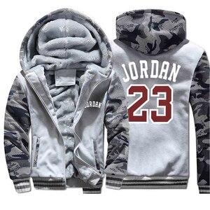 Image 4 - Hoodies dos homens jordan 23 impresso moda streetwear camuflagem grosso jaqueta 2019 outono inverno com capuz moletom com capuz casacos