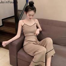 JoinYouth Pescoço V De Malha Conjunto de Duas Peças Cor de Contraste de Alta Cintura 2 Conjunto Pedaço Conjunto Feminino Das Mulheres 2020 Moda Coreano j639