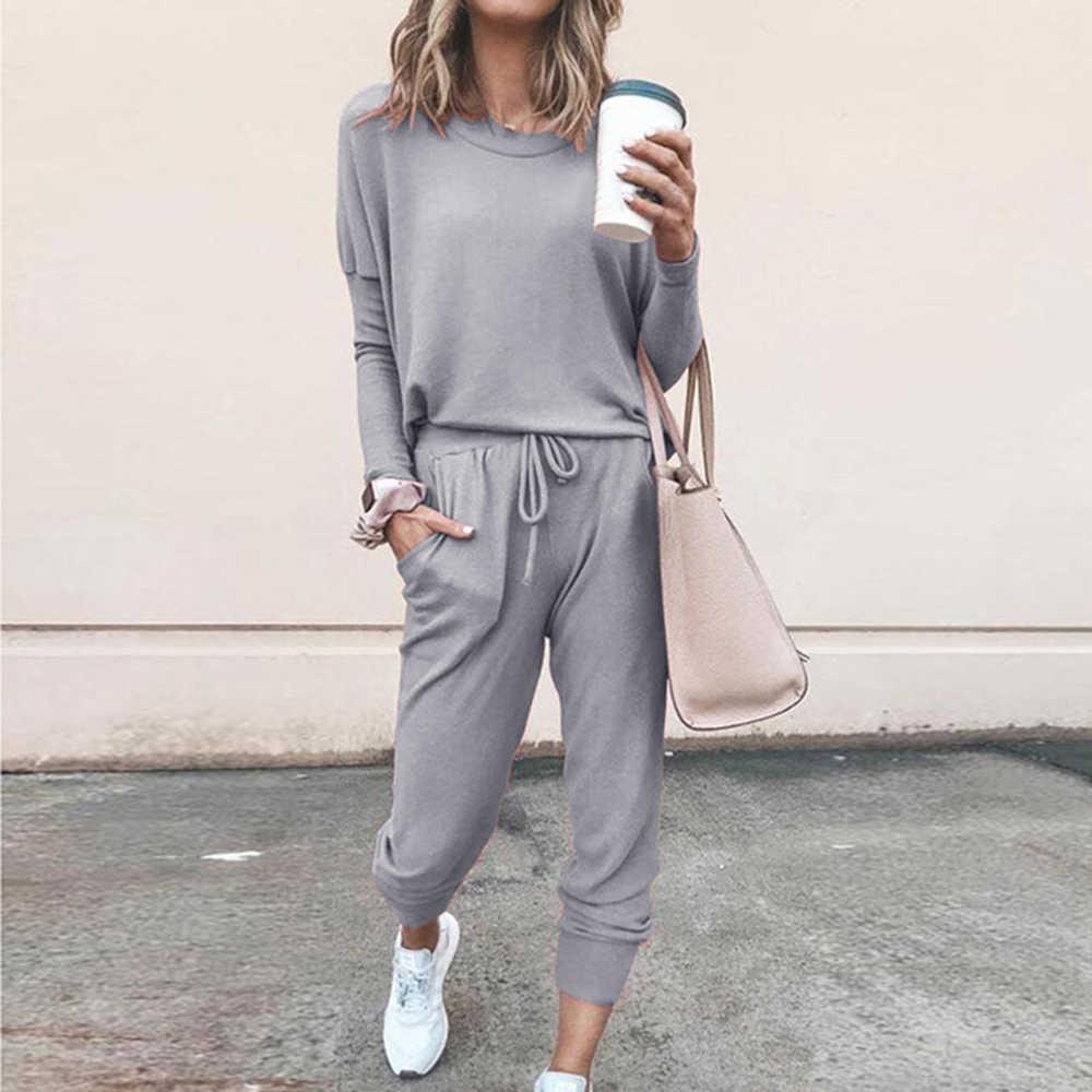 Pants Lounge Playsuit MoneRffi Womens Long Sleeve Round Neck Solid ...