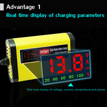12V 2A LCD Display Smart Motorcycle Car Battery Charger Full Automatic 3 Stages Lead Acid AGM GEL Intelligent 12 Volt 10AH 20AH