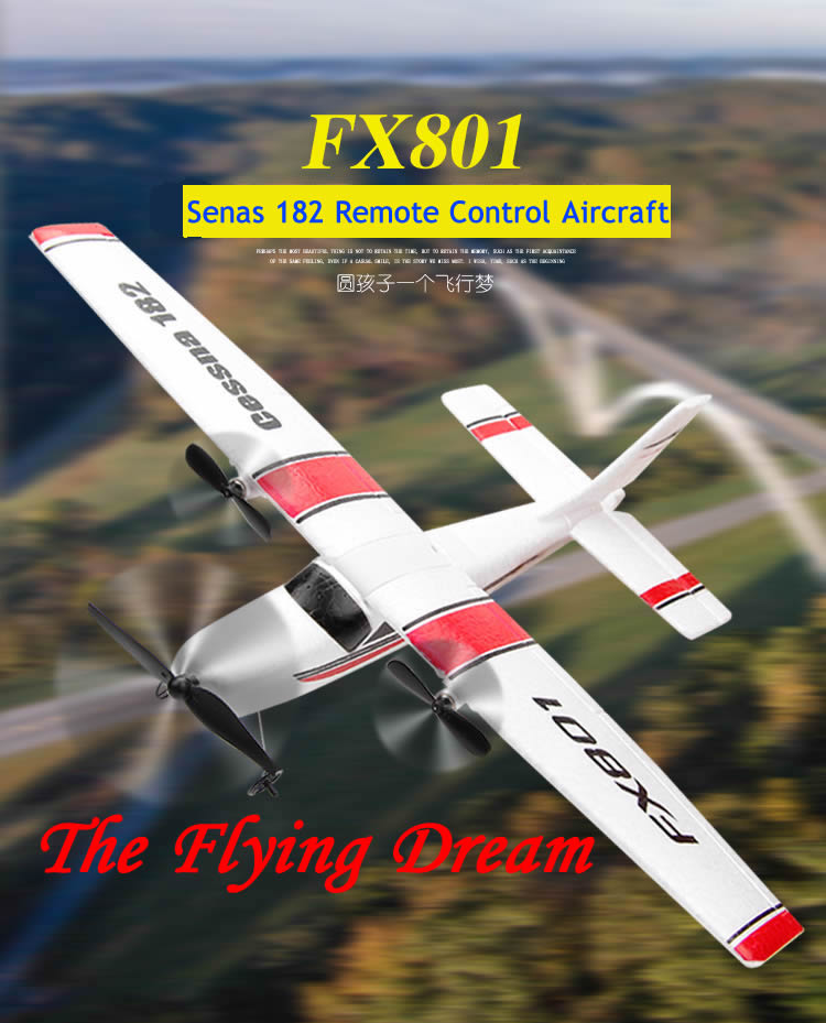 DIY <font><b>RC</b></font> <font><b>Plane</b></font> Toy Remote Control Glider FX-801 <font><b>Rc</b></font> Airplane <font><b>Cessna</b></font> <font><b>182</b></font> DIY EPP Craft Foam Electric Outdoor Fixed Wing Aircraft image