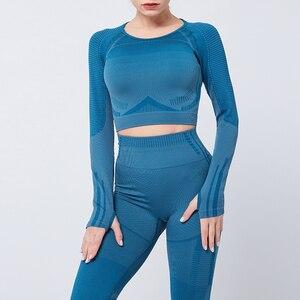 Image 3 - Женский бесшовный комплект из 2 предметов для йоги, фитнеса, тренировок и брюк, спортивная одежда с длинным рукавом, укороченный топ, тренажерный зал, леггинсы, спортивные костюмы