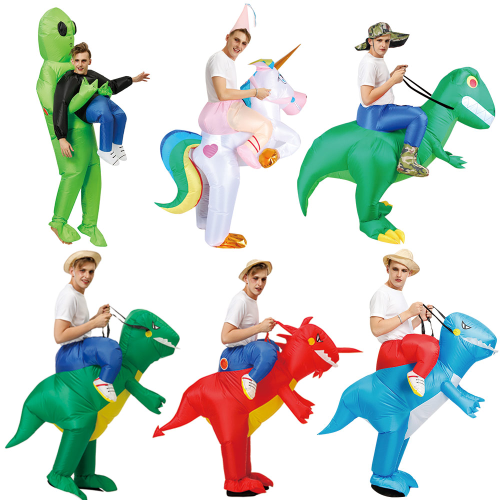 Ride Costume 2 Size Inflatable Dinosaur T-Rex Fancy Dress Adult Kids Halloween Costume Dragon Party Outfit Animal Themed Cosplay