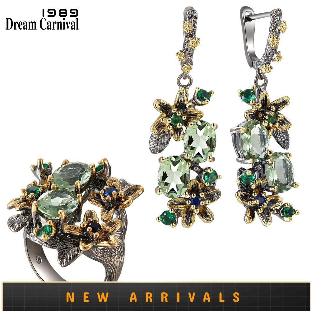 DreamCarnival 1989 Feminine Stunning Green Zircon Earring Rings Set Engagement Party Jewel Eye Catching Olivine Flower ER3874S2(China)