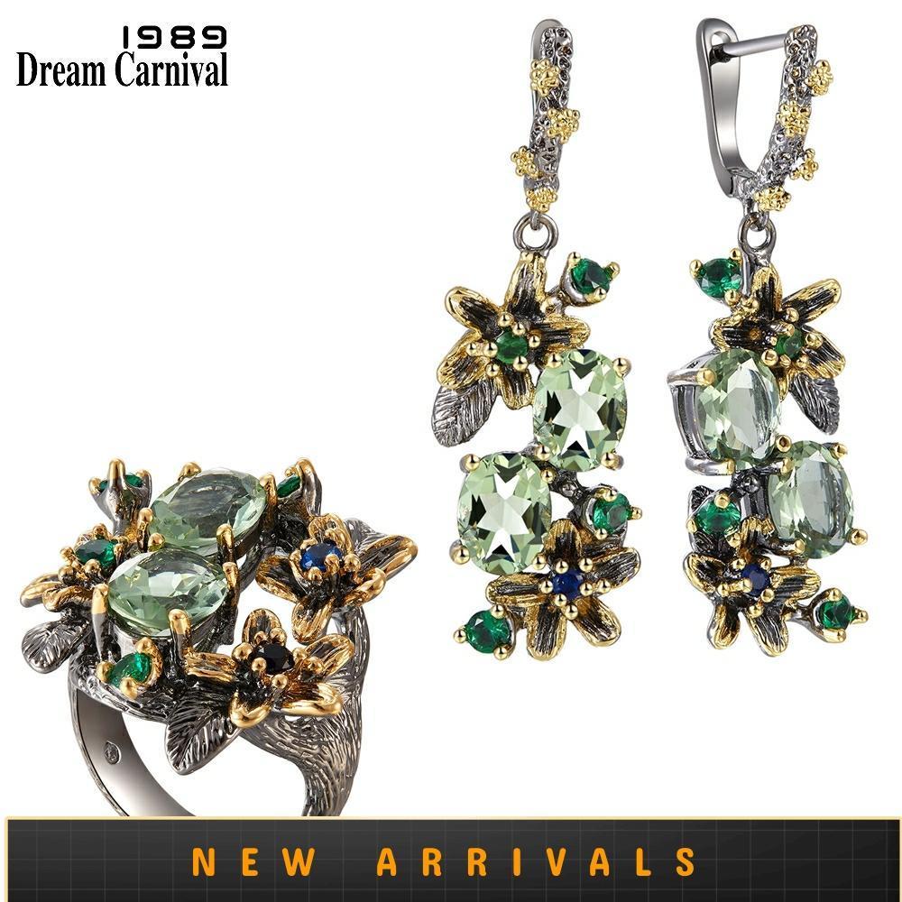DreamCarnival 1989 femenino verde impresionante pendientes de circón conjunto de anillos de compromiso fiesta joya llamativa flor olivino ER3874S2