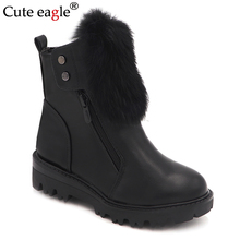 Cute eagle Girls Boots New Kids Natural PU Leather For Brand Princess winter Cotton Children Shoes EU SIZE 27-32