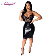 Casual Lace Patchwork PU leather Bodycon Party Club Dress Women Sexy Sheer Lace Up V Neck Hollow Out Zipper Dresses Vestidos sexy stand collar hollow out lace up zipper velvet dress for women