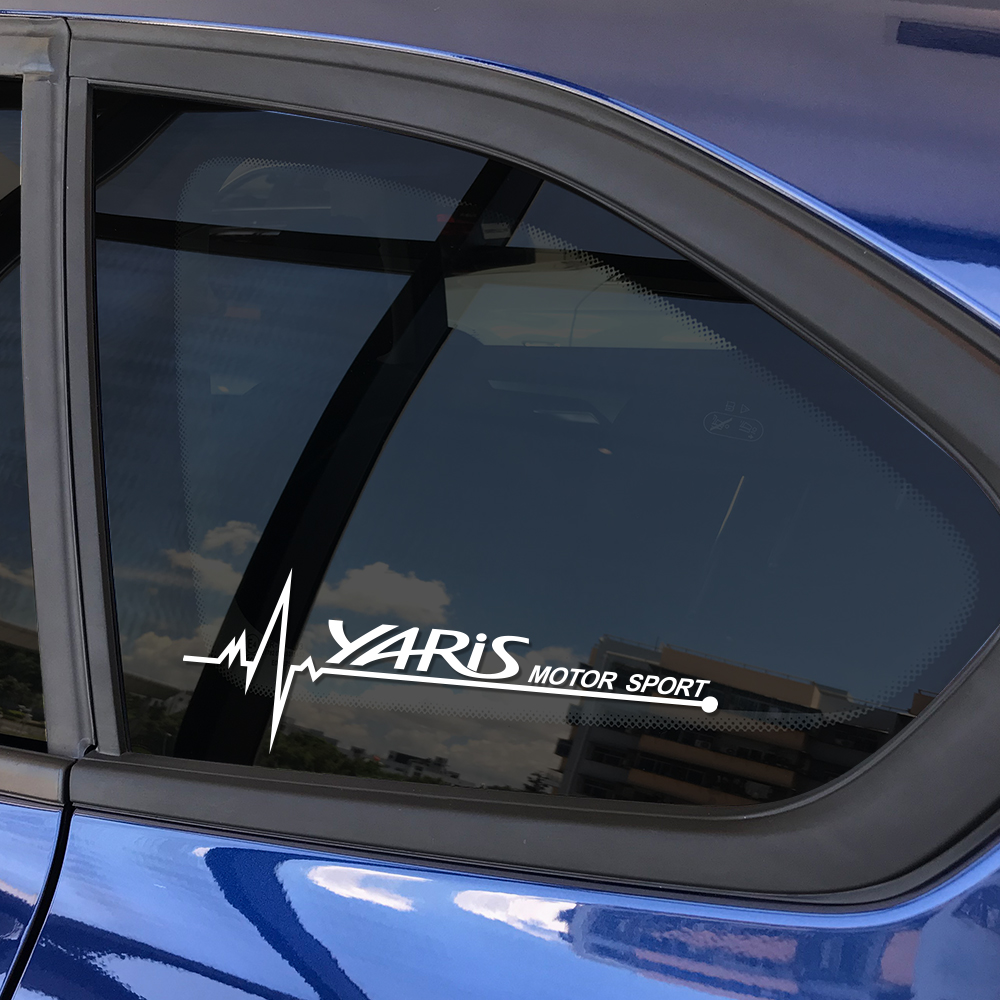 2PCS Car Side Window Vinyl Trim Stickers Decals For Toyota Yaris Accessories Auto Sport Styling Reflective Window Decoration