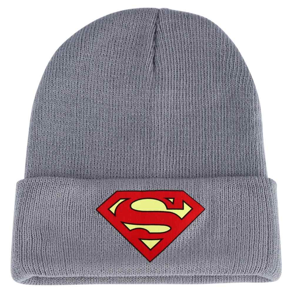 Czarny szary dziergana czapka czerwona logo supermana zimowa ciepła męska zimna fajna czapka Skullcap odzież uliczna z nadrukiem krótkie czapki dziecięce