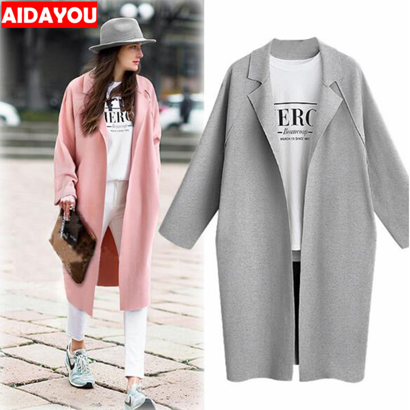 Womens   Trench   Coats Autumn New Long Sleeve Overcoat coat Plus size Long Coat Women Overcoat Clothes ouc315