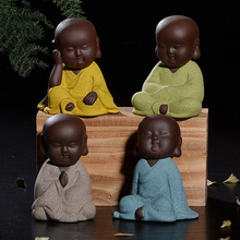 Buddha statues small monk color sand ceramic home club geomantic decoration Purple Sand Figurines Tea Pet Home Decoration nordic macaron color french bulldog ceramic figurines collectibles for home decor weddings centerpieces porcelain animal statues