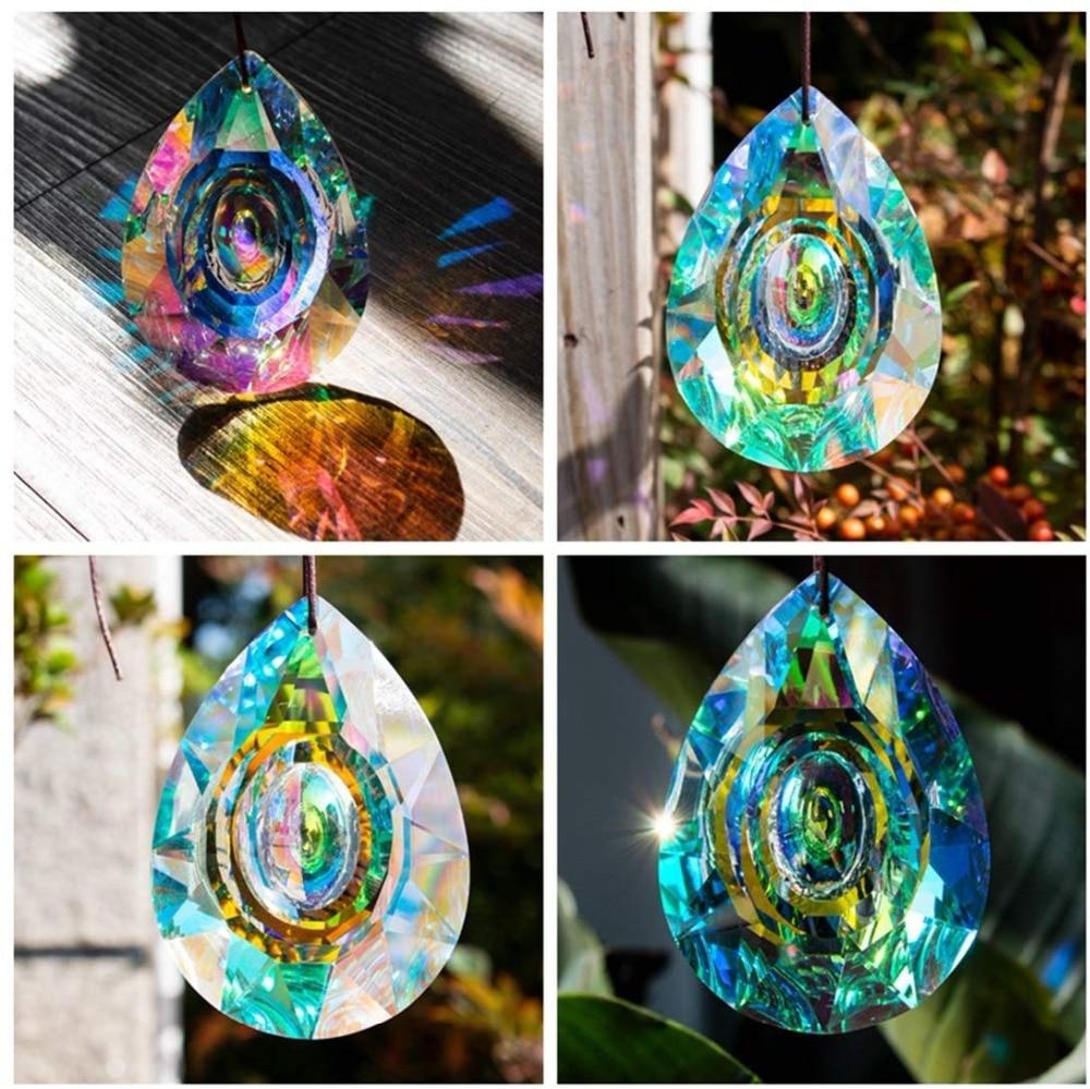 H&D Hanging Crystals Prism Suncatcher for Windows Decoration 76mm AB-Color Chandelier Parts DIY Home Wedding Decor Accessories 5