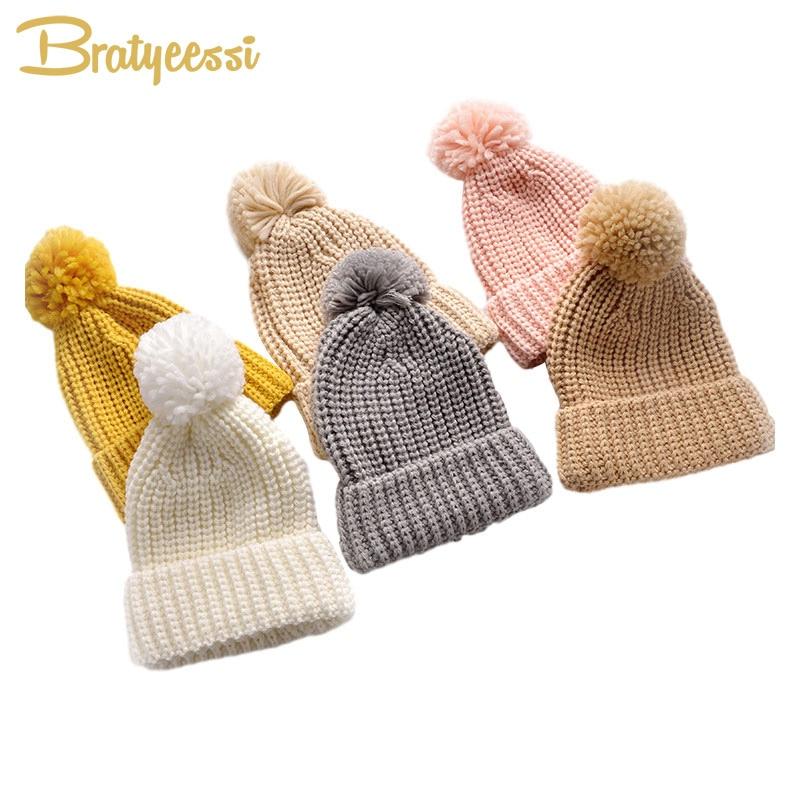 Детская вязаная шапка с помпоном для девочек и мальчиков, Детская вязаная шапочка, детская эластичная теплая вязаная шапка, детские вязаные...