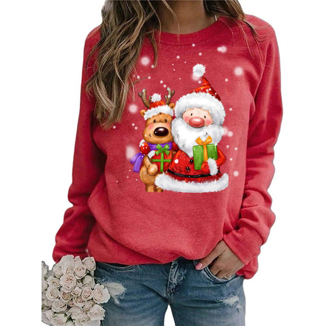 #2020 Fashion Christmas Women's Sweaters Christmas Print Long-sleeved Sweaters Casual Top Loose Sweaters Pullover Female свитер 1
