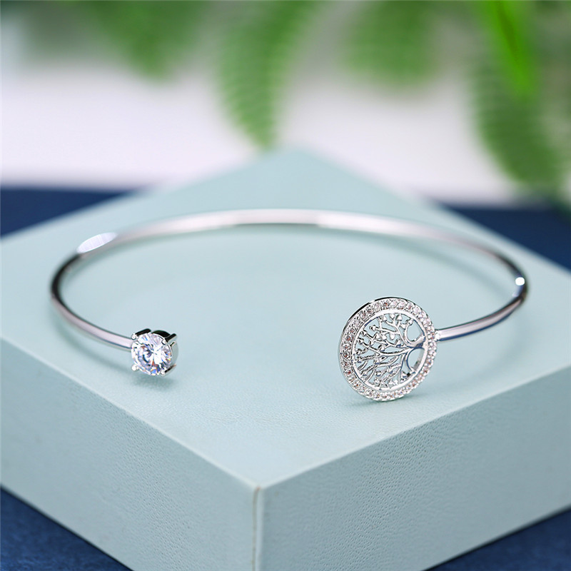 Dainty Female White Zircon Stone Bracelet Tree Of Life Adjustable Bracelets For Women Cute Rose Gold Wedding Bracelet